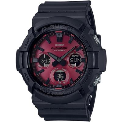 G-SHOCK 紅黑強悍帥氣太陽能運動錶(GAS-100AR-1A)-黑x紅/52.5mm