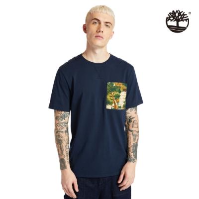 Timberland 男款深寶石藍色Field Trip口袋印花有機棉短袖T恤|A254Z