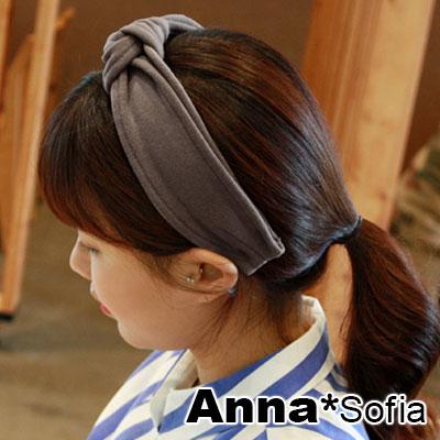 AnnaSofia 素絨雙線車邊中央結 韓式超寬髮箍(褐灰系)
