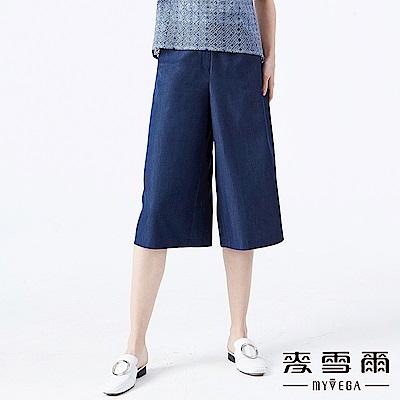 【麥雪爾】牛仔丹寧雙排釦飾七分寬褲