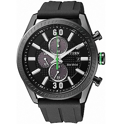 CITIZEN星辰 光動能 與時競賽三眼運動錶(CA0667-12E)-黑/42mm