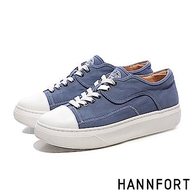 HANNFORT CAMPUS PLATFORM復古車線帆布厚底休閒鞋-女-藍
