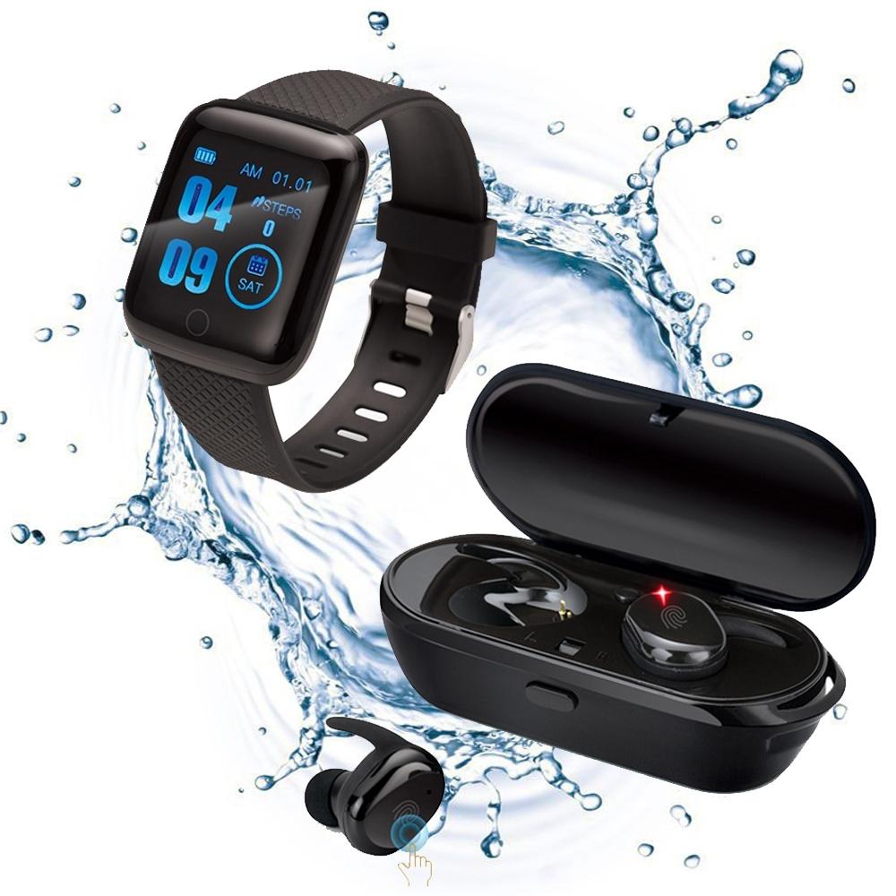 【智慧觸控套組】E-books 真無線觸控藍牙耳機 SS8 + 藍牙健康智慧手錶V8