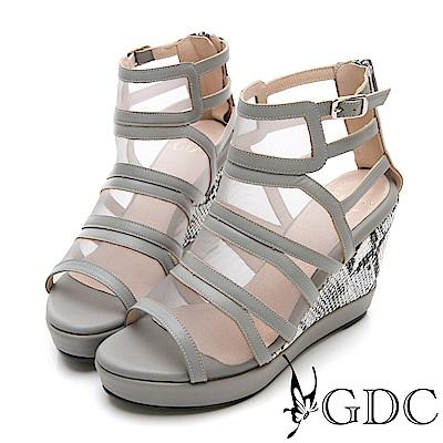 GDC-性感辣妹牛皮網紗拼接時尚高端楔型涼鞋-灰色