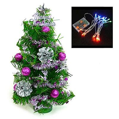 摩達客 迷你1尺(30cm)裝飾聖誕樹(銀紫色系+LED20燈彩光電池燈)