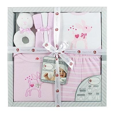 美國Elegant kids彌月禮盒-粉紅小鹿7件式禮盒