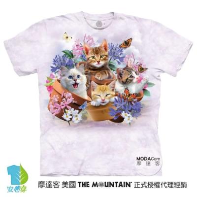 摩達客-預購-美國進口The Mountain 花園貓咪哦耶 兒童版純棉環保藝術中性短袖T恤