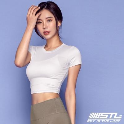 STL yoga 韓國瑜珈 ESSENCE Line Up 本質短版合身(有肩線)運動機能短袖圓領上衣 微透白PureWhite