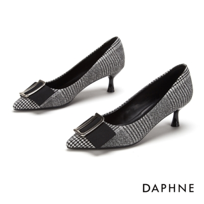 達芙妮DAPHNE 跟鞋-D字飾扣蝴蝶結千鳥格紋尖頭鞋-格紋灰