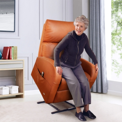 Sun Pin_Grenville格倫維爾勛爵半牛皮電動躺椅-栗棕色 W77*D76-154*H93-137 cm