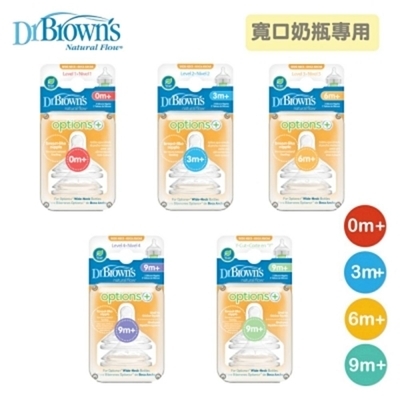 任選 全新升級!美國布朗博士-防脹氣OPTIONS+寬口矽膠奶嘴(兩入裝)3組共6入