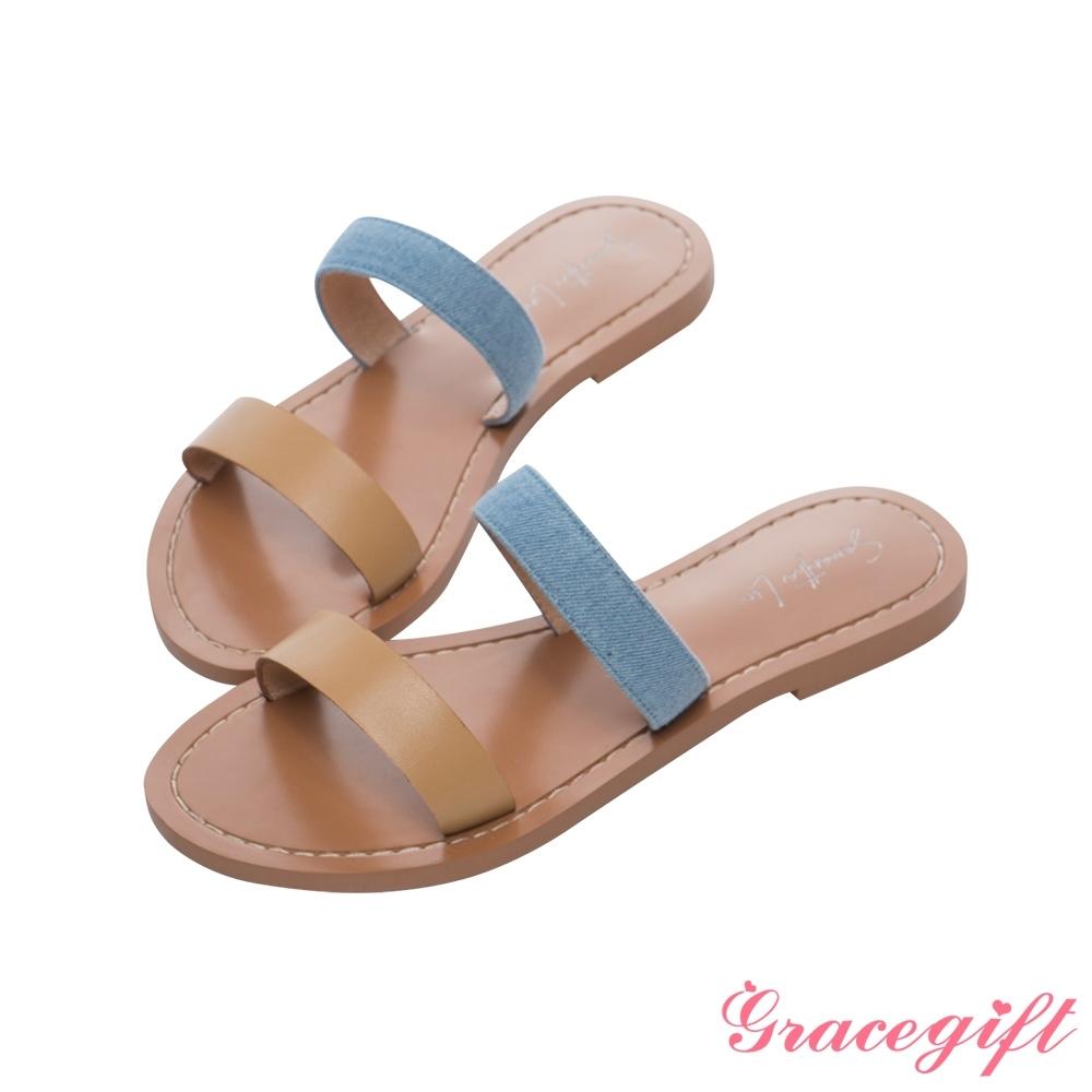 Grace gift X Samantha-聯名雙條帶平底涼拖鞋 駝