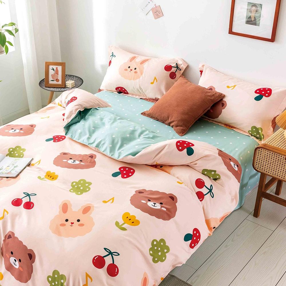 Goelia 萌萌一家 親膚舒柔活性印染超細纖雙人床包枕套三件組