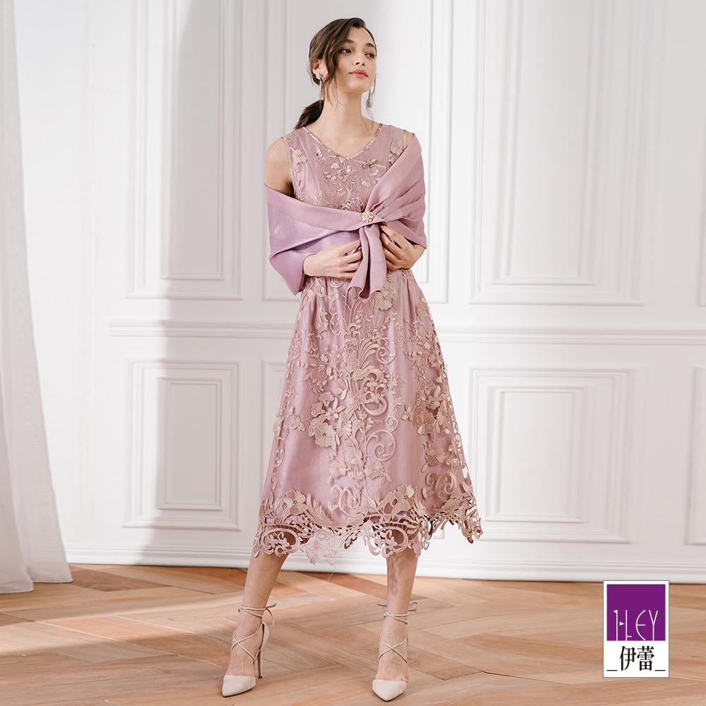 ILEY伊蕾 交衩領刺繡蕾絲洋裝(紫)