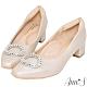 Ann'S歐風古典-絲緞感圓形鑽扣小方頭低跟鞋-米白(版型偏小) product thumbnail 1