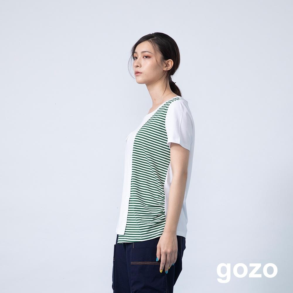 gozo 條紋拼接解構不對稱下擺上衣(二色)