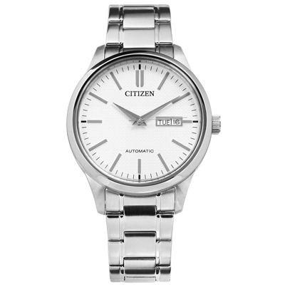 CITIZEN 機械錶自動上鍊藍寶石水晶玻璃日期星期不鏽鋼手錶-銀白色/40mm