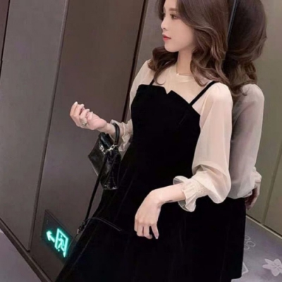 Secret Closet-蕾絲透膚細肩兩件式洋裝