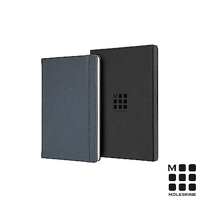 MOLESKINE 經典皮革筆記本禮盒(L型橫線)-藍