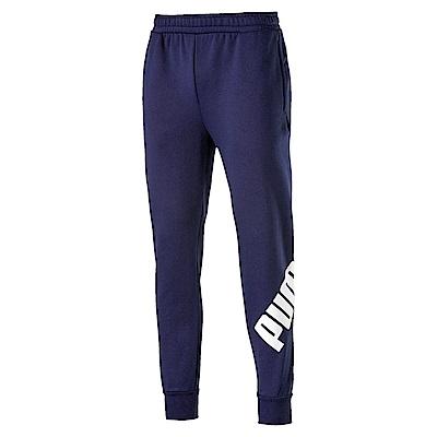 PUMA-男性基本系列大LOGO刷毛長褲-重深藍-歐規