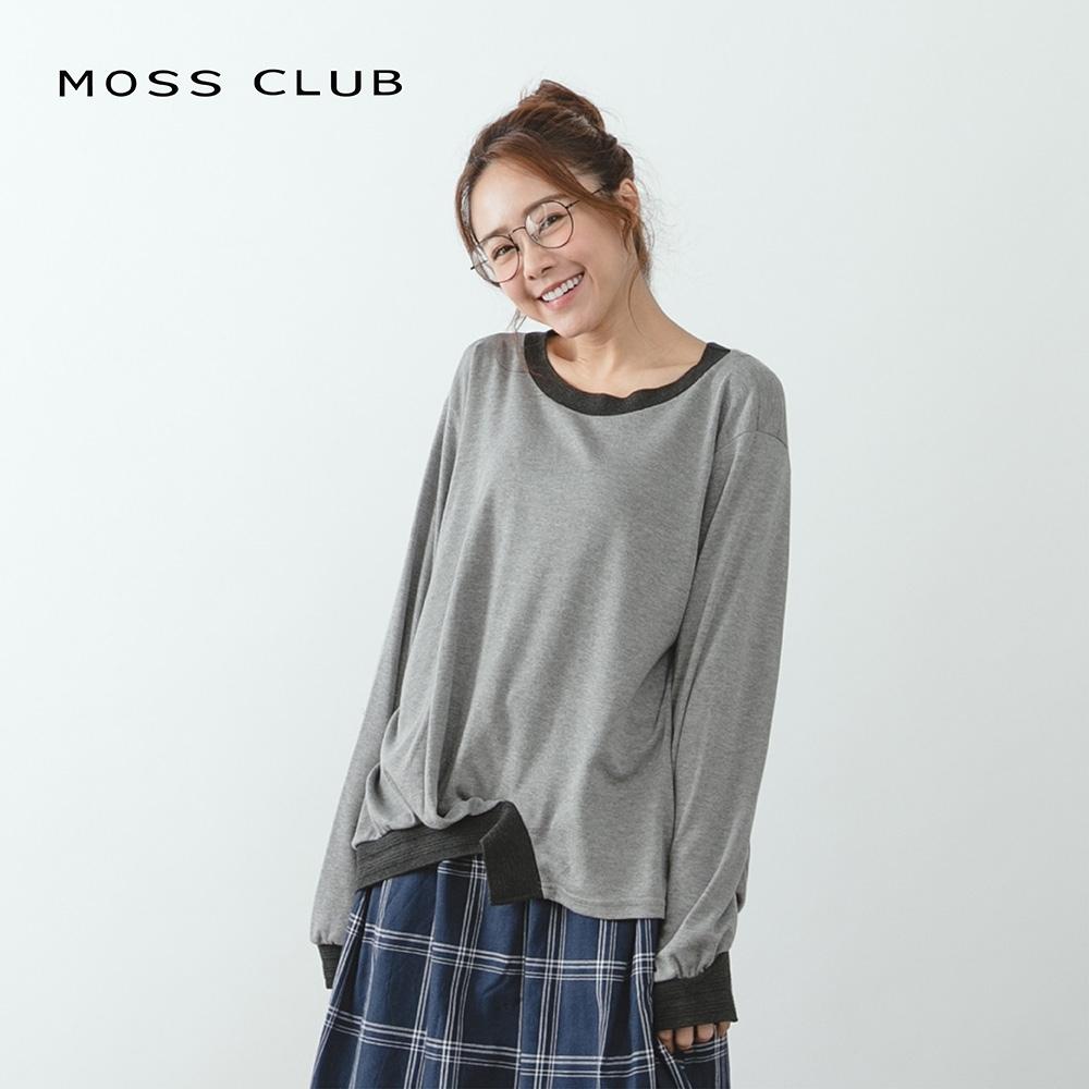【MOSS CLUB】MIT製 撞色不對稱設計-上衣(二色)