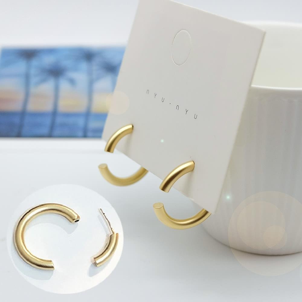 【全館五折】ANPAN愛扮925銀針韓東大門超設計感幾何圓圈前後扣耳環