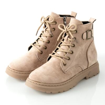 JMS-街頭魅力後釦環綁帶拉鍊短靴-杏色