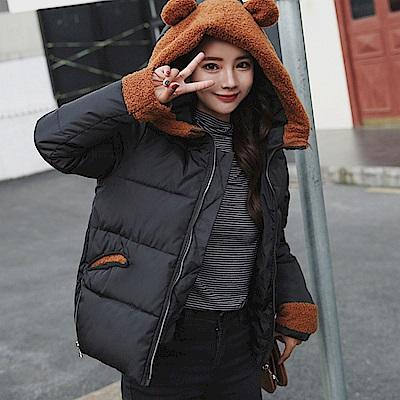韓版可愛羔羊絨兔耳朵連帽羽絨棉外套M-2XL(共四色)-WHATDAY