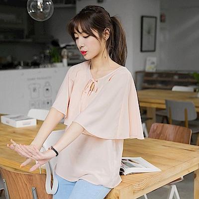 浪漫雪紡傘襬造型綴胸前金屬綁帶拼接純色圓領上衣.2色-OB嚴選