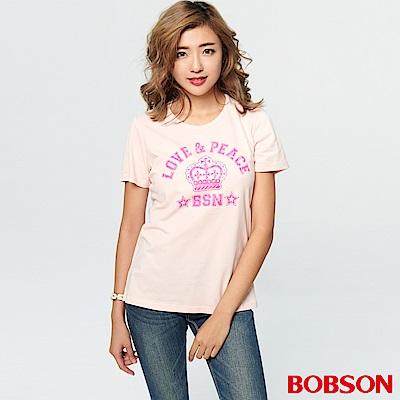 BOBSON 女款皇冠字母印圖T恤