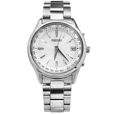 SEIKO 精工 太陽能電波 藍寶石水晶 萬年曆 不鏽鋼手錶-銀白色/40mm