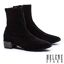 短靴 HELENE SPARK 摩登時尚晶鑽粗跟彈力短靴-黑