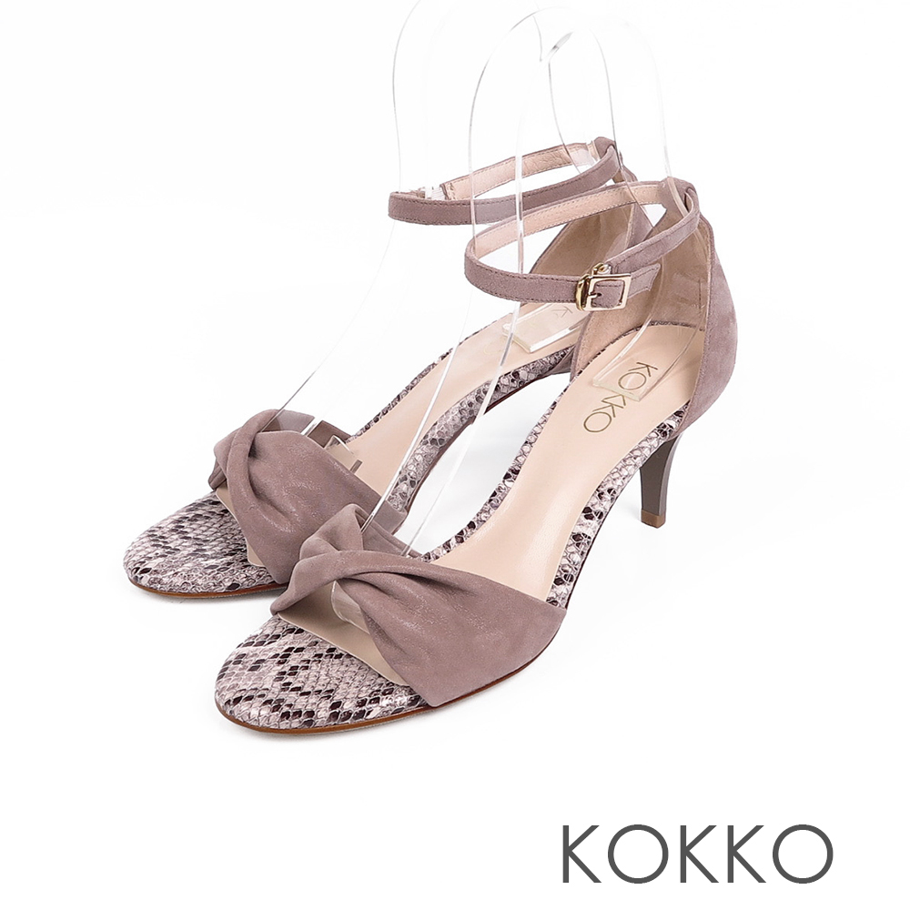 KOKKO女神降臨扭結繫帶真皮高跟鞋蛇紋灰