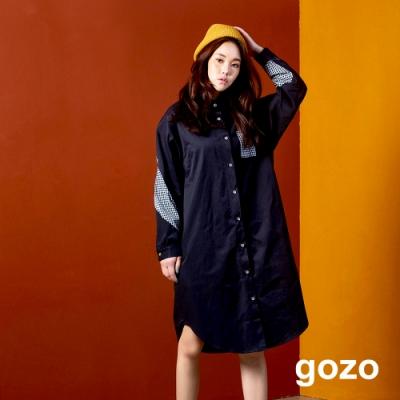 gozo 格紋拼接風衣式襯衫洋裝(黑色)