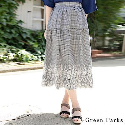 Green Parks 格紋×扇形刺繡長裙