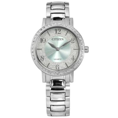 CITIZEN 限量 璀璨星砂 耀眼晶鑽 礦石強化玻璃 不鏽鋼手錶-水藍色/31mm