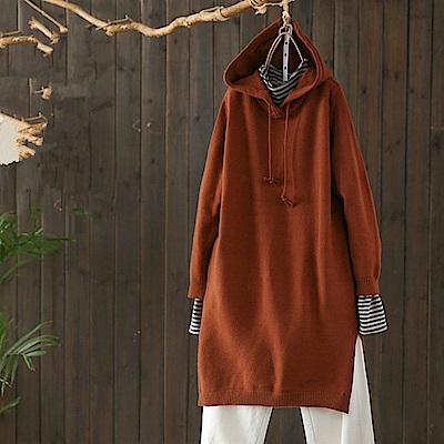 時尚廓型連帽毛衣裙針織衫開叉中長洋裝-設計所在