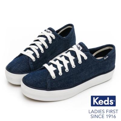 Keds TRIPLE KICK 單寧厚底休閒鞋-深藍