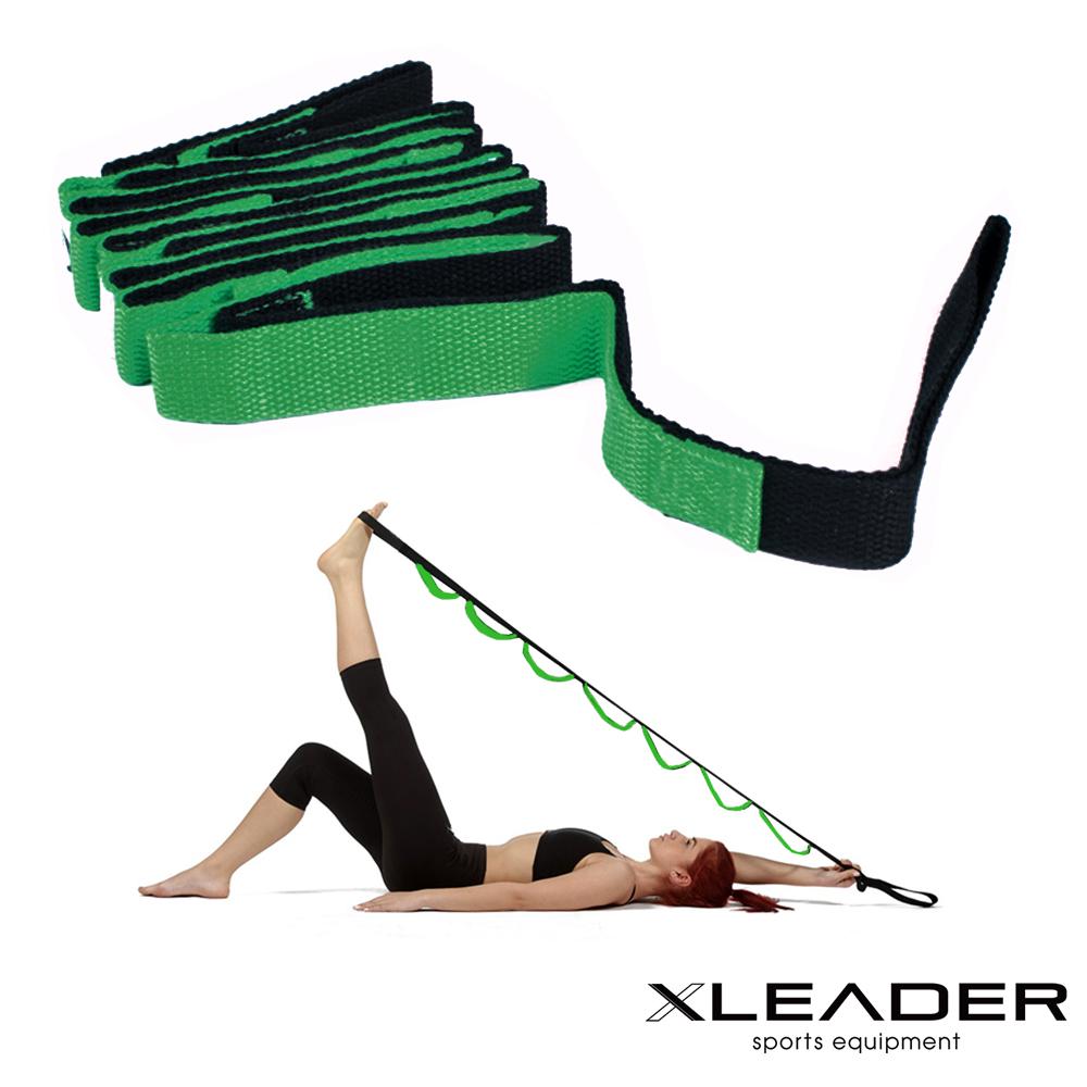Leader X 多功能分隔瑜珈繩 伸展訓練帶 拉筋帶 綠色 @ Y!購物