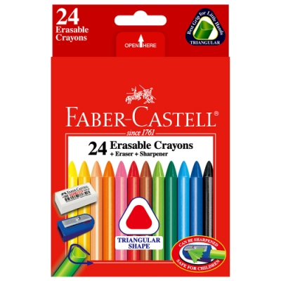 Faber-Castell  三角擦擦蠟筆24色