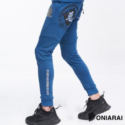 鬼洗 BLUE WAY -ONIARAI潮流圖騰花紗運動棉褲(藍)