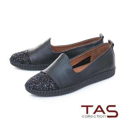 TAS低調閃耀異材質拼接縫線休閒鞋-百搭黑