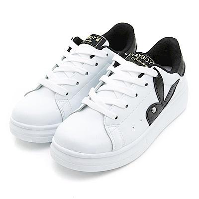 PLAYBOY潮流最IN-極簡仿皮綁帶休閒鞋-白黑