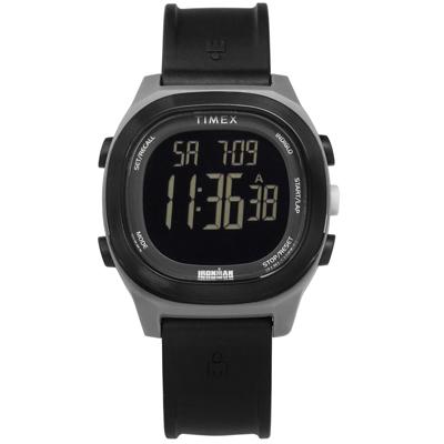 TIMEX 天美時 IRONMAN 鐵人系列 計時碼錶鬧鈴防水電子橡膠手錶-黑色/40mm
