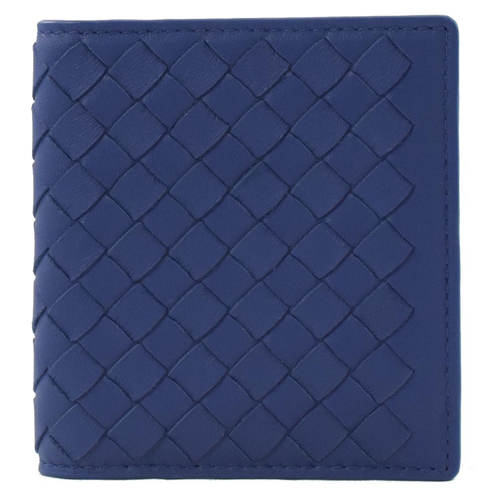 BOTTEGA VENETA經典羊皮釦式對開卡片夾(寶藍)