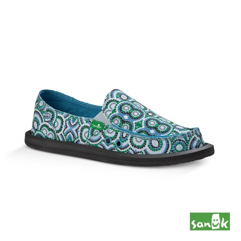 SANUK 女款US6 孔雀民俗圖騰印花懶人鞋(藍綠色)