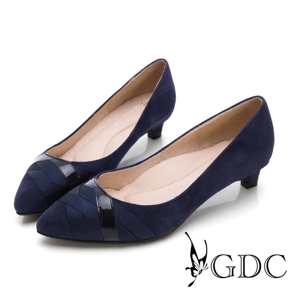 GDC-質感羊絨交叉緞帶設計尖頭中跟鞋-藍色