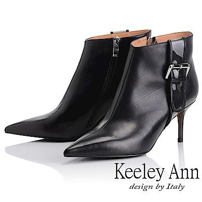 Keeley Ann 俐落個性~率性金屬飾釦全真皮短靴(黑色-Ann)