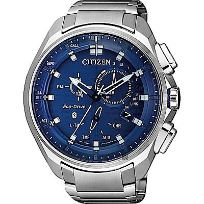 CITIZEN 星辰 限量光動能藍芽手錶-藍x銀/48mm(BZ1029-87L)