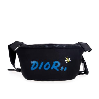 DIOR X KAWS限量藍色DIOR LOGO蜜蜂尼龍腰包/胸背包 (黑色)